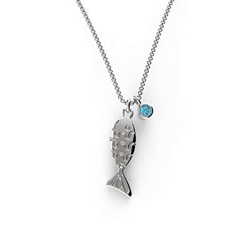 Belle Queen 'Dream Collection' - Collana girocollo da donna in argento Sterling placcato al rodio, con ciondolo a forma di pesce e zirconi blu, 40 + 5 cm