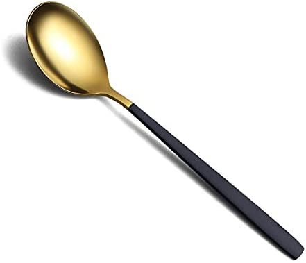 20 Piece Silverware Flatware Cutlery Set,Stainless Steel Utensils Service set for 4,Mirror Finish,Dishwasher Safe (Shining Golden Spoon and Matt Black Handle)