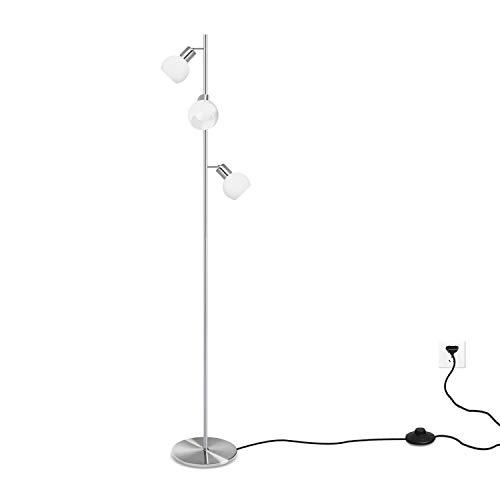 Bojim Lampada da Terra Paralumi a Sfera In Vetro Bianco, 3 x 4W Lampadine E14 Bianco naturale 4500K, Lampada da terra AC 230V 320LM, Interruttore a Pedale, Moderno Piantana Per camera da letto