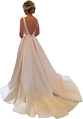 LYDIAGS Damen-Brautkleid, rückenfrei, Satin, lang, Brautkleid, Hochzeitskleid mit Zug Gr. 44, elfenbeinfarben