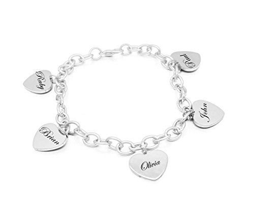 Vincenza Personalised Engraved Name 5 Heart Charm Bracelet Silver Plated Engraved Free 5 Names Custom Made with Any Names Engraved Free UK Stock