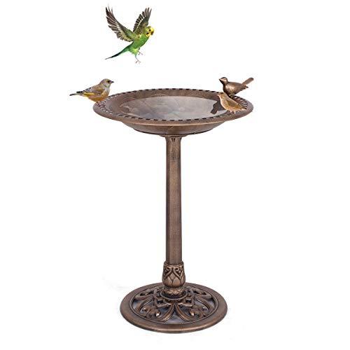 Goplus Mangiatoia per Uccelli Abbeveratoio Uccelli con Figurina di Uccello Ciotola Vasca per Uccelli da Giardino di Altezza 76CM