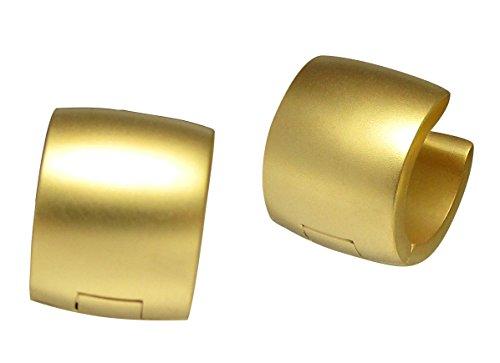 Kikuchi Damen Herren klapp Creolen 10mm Extra-Breit Ohrringe Titan- Edelstahl Gold Matt Sandstrahlen ERTS015
