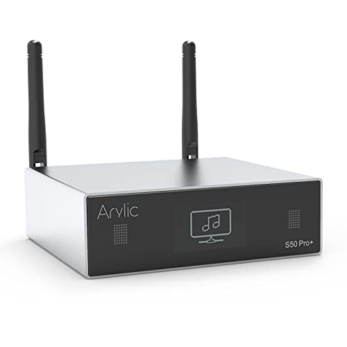 Arylic WiFi & Bluetooth 5.0 Audio Receiver, aptX HD Vorverstärker mit ESS Sabre Dac AKM ADC Multiroom/Multizone, drahtloser WiFi Audio Receiver mit Airplay, Spotify, Internet Radio-Up2stream S50 Pro+