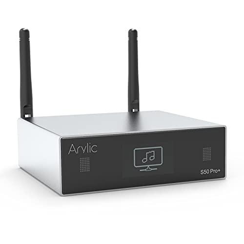 Arylic Up2stream S50 Pro+,WiFi & Bluetooth 5.0 Audio Receiver,aptX HD Preamplifier with ESS Sabre Dac AKM ADC Multiroom/multizone,Wireless WiFi Audio Receiver with Airplay,Spotify,Internet Radio