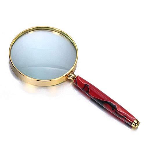 Mnjin Lupe 3X Lupe Handheld Retro Lupe für Senioren Low Vision Bücher Seiten Zeitschriften Zeitungen Karten