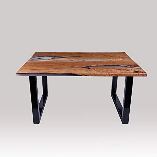 Rikmani - Mesa de diseño de madera de nogal, mesa de comedor de madera maciza, mesa de salón con resina epoxi, escritorio – estructura de metal epoxi negro – 1,50 m rectangular, Nebula