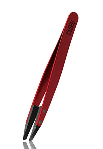 Rubis Pince à épiler en plastique avec poignée en acier inoxydable Rouge