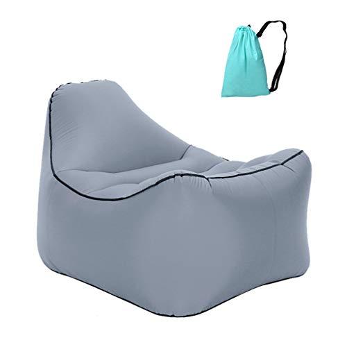 Beschermend net Opblaasbare Lazy Sofa Stoel Draagbare Reizen Air Lounger Waterdichte Airbag Terug Sofa Opblaasbare Stoel Achtertuin Zwembad Camping Party 5 Kleuren, Grijs