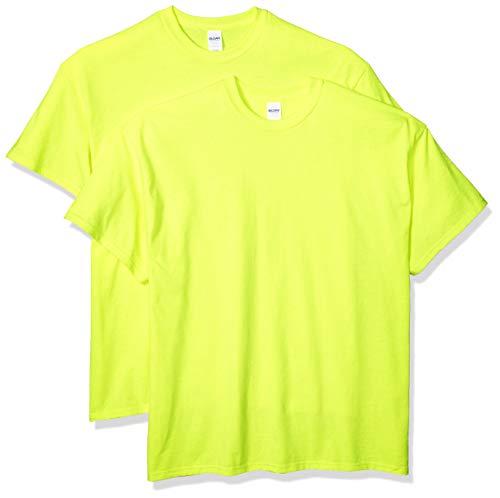 Gildan Men's G2000 Ultra Cotton Adult T-Shirt, 2-Pack, Safety Green, Large