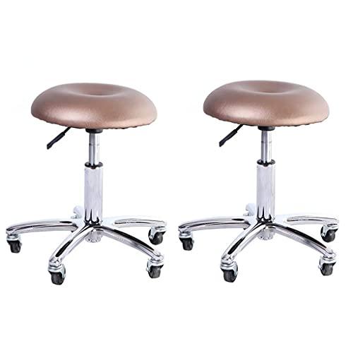 QLIGAH Taburete de manicura, taburete de trabajo pequeño, taburete en ruedas, base ajustable para asiento de pan con rotación de 360 °