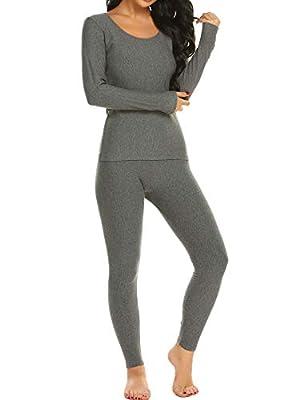 Ekouaer Long Thermal Underwear Fleece Lined Winter Base Layering Set for Women Fleece-dark Gray X-Large