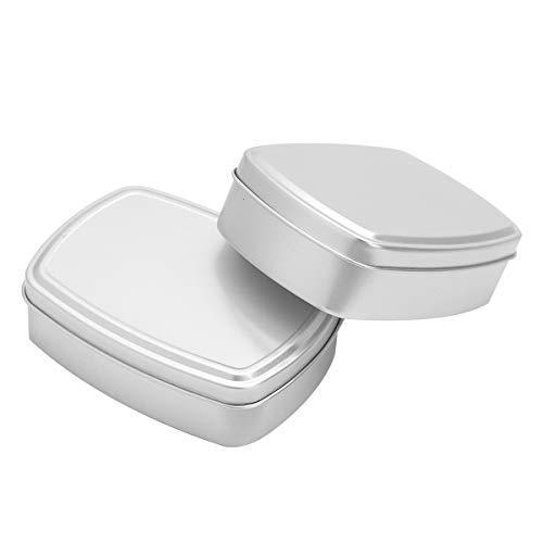 TiaoBug 2Pcs Mini Tin Box Container Aluminum Empty Tins Storage Tin Cans for DIY Cosmetic Lip Balms Salve Spice Mints Candy Bead Coin Treasures Gift Silver Rectangular
