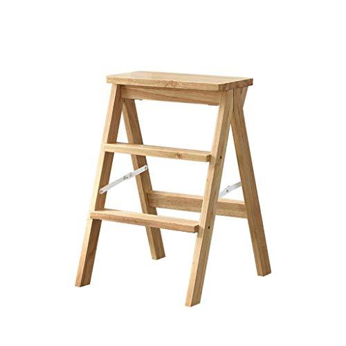 Portable Wood Ladder, School Drie Step Ladder Dual Purpose Stepladders houten kruk Bookstore Ladder Bibliotheek Multipurpose Kruk (Kleur: A, Maat: 42 * 51.5 * 63cm) XIUYU