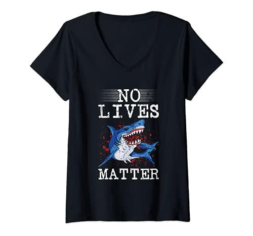 Mujer Ninguna vida importa miedo Halloween asesino tiburn peligroso pescado Camiseta Cuello V