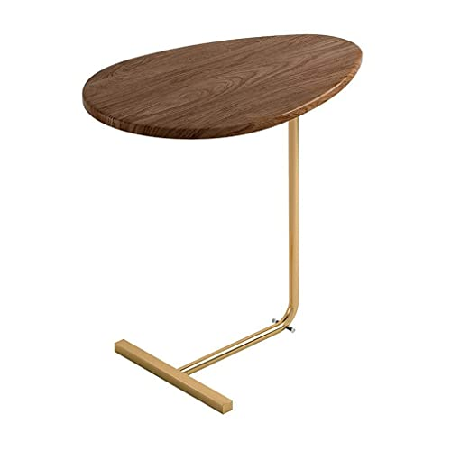 Side Table Side Table,Oval Solid Wood Sofa Coffee Table,End Table,Bedside Table with C-Shaped Stainless Steel Bracket for Living Room,Bedroom,Balcony (11.8x17.7x24.2 in) Corner Table