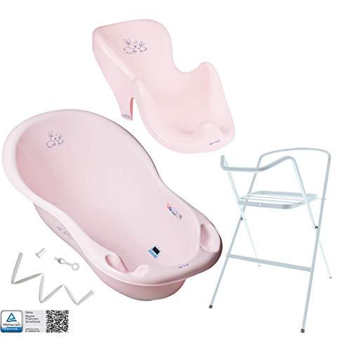 Tega Baby ® Baby Badewanne mit Gestell und Verschiedene Sets für Neugeborene mit Babybadewannen + Ständer + Abfluss + Badewannensitz 0-12 Monate | ergonomisch, Motiv:Häschen - rosa, Set:4 Set