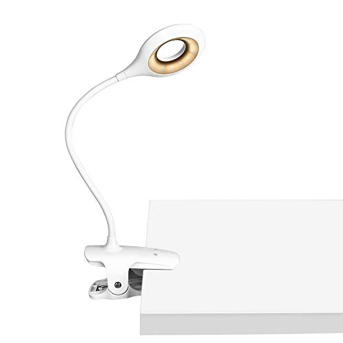 Leselampe, 28 LED Klemmleuchte USB Wiederaufladbare, 3 Farb und 3 Helligkeitsstufen Dimmbar klemmlampe, 360°Flexibel Leselampe Buch Bett Klemme (Weiß)