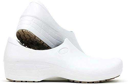 Sticky Comfortable Work Shoes for Women - Nursing - Chef - Waterproof Non-Slip Pro Shoes (White, 7.5)
