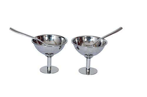 Ice Cream Stainless Steel Dessert Cups, 5.5 Ounce Ice Cream Bowl Including Long Handle Stainless Steel 2 Spoons Suitable for Eating Desserts Set of 2(Silver)