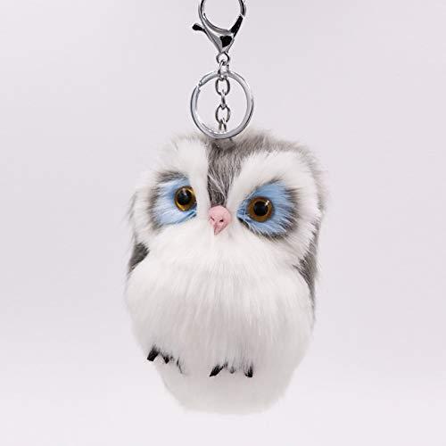Xpccj Llavero de peluche de imitación de piel de conejo con diseño de búho, bolsa de piel, colgante de coche, bonito llavero de peluche (color: 05, tamaño: 8 x 15 cm)