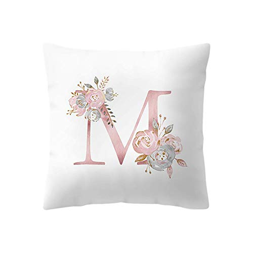 Pink Letter Decorative Pillow Cushion simple Brief 45 * 45cm Polyester Cushion Suitable for various purposes,M,45x45cm