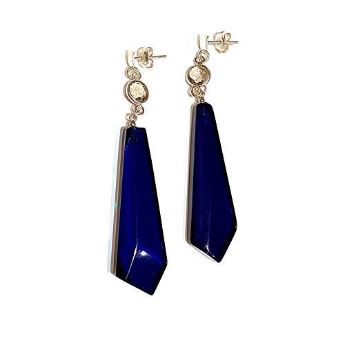 Blue Amber and Grey Quartz Earrings in 925 Sterling Silver Long Earrings Ladies Real Blue Amber