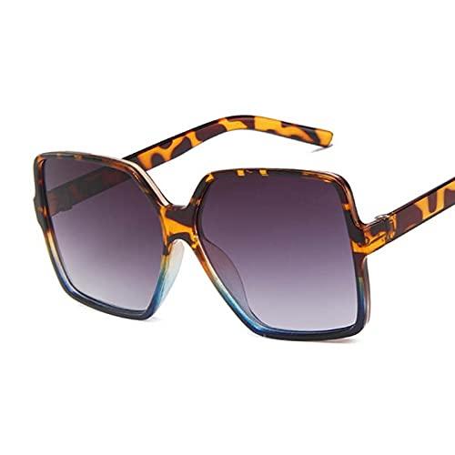 Gafas de sol de gran tamaño con diseño de gradiente de moda retro y cuadradas, color azul leopardo