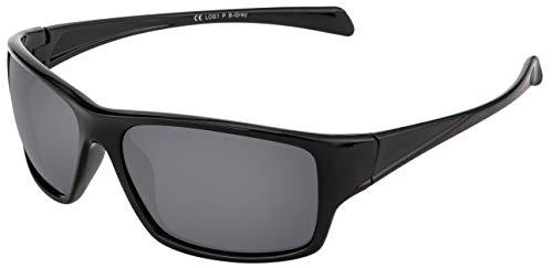 La Optica B.L.M. Sonnenbrille UV400 CAT 3 Unisex Damen Herren Sportbrille Fahrradbrille Angeln - Schwarz (Gläser: POLARISIERT Grau)