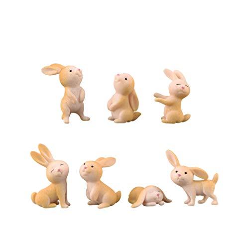 MILISTEN 7 Stücke Mini Hase Figur Osterhase Figuren Osterhäschen Statue Osterdeko Miniatur Kaninchen Bunny Puppenhaus Ornament Fee Garten Deko Kuchendeckel Party Mitgebsel Gastgeschenke