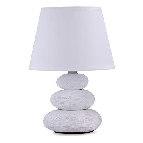 Lámpara para mesita de noche Lina, 3 piedras, (color blanco mate)