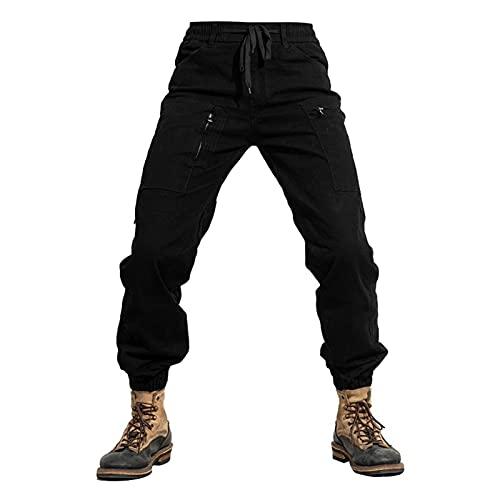 JIASHIQI Pantalones de protección de Motocicletas for Hombres, Pantalones de Ciclismo de Carreras de Motocicletas de Carga, Multi-Bolsillo al Aire Libre Resistente a la caída Unisex Primavera Otoño