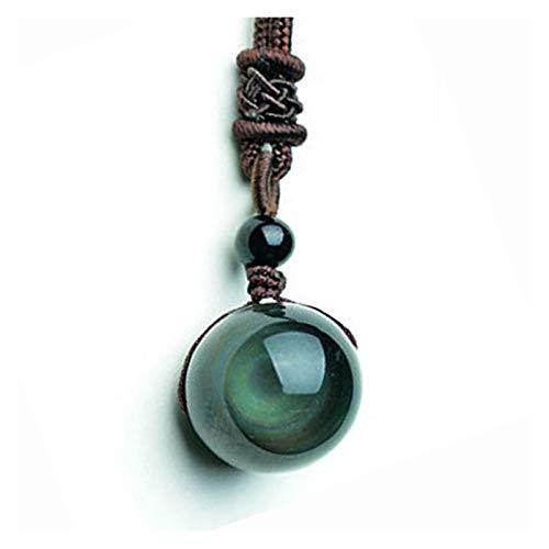 TKPOLD Transferencia 16mm Negro Obsidiana Obsidiana Ojo de Tigre Glod Piedra Pendiente de la joyería Collar Colgante de Cristal Amuleto Suerte (Gem Color : Gold Obsidian)