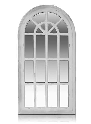 Antic by Casa Chic - Französischer Fensterspiegel - 46x86 cm - Fester Rahmen - Antikes Weiß