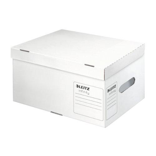 Leitz Infinity Ablage- und Transportbox, Größe S, Obere Öffnung mit integriertem Deckel, 100% säurefreier Wellpappe, Faltbar, Weiß, Leitz Infinity Archiv Serie, 61050000