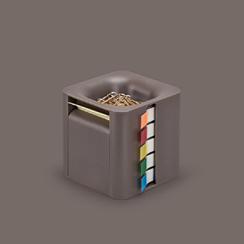 MEMO CUBE メモキューブ BROWN / 使用頻度の高い付箋・クリップをこれ一個に収納 机の上がすっきり片付きます