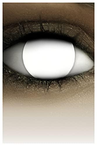 FXCONTACTS Farbige Halloween Kontaktlinsen weiß BLIND WHITE, weich, 2 Stück (1 Paar), ACHTUNG: Nur 60% Sehvermögen - Ohne Sehstärke