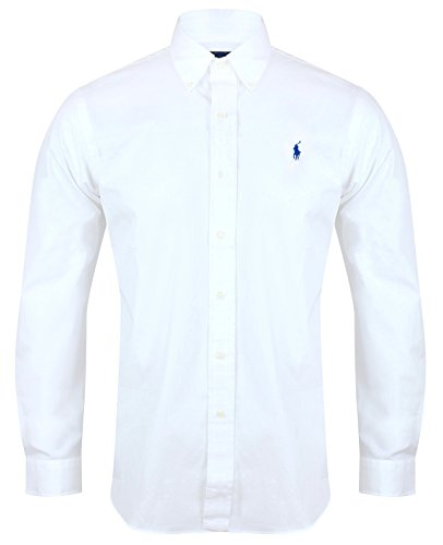 Ralph Lauren Polo, camicia da uomo modello Custom Fit, in popeline, colore navy White Large