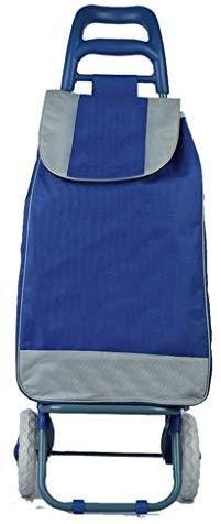 WSJ - Trolley per la spesa a 2 ruote con asta di sostegno e tasca con cerniera – Carriola pieghevole robusta con ruote – impermeabile e silenziosa – Trolley portatile (colore: blu), blu