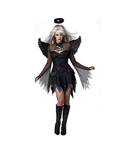 GBYAY Disfraz de Cosplay del Diablo Negro de Halloween para Mujer Vestido de ángel Blanco con alas Fiesta de Adultos Disfraces de Brujas niña