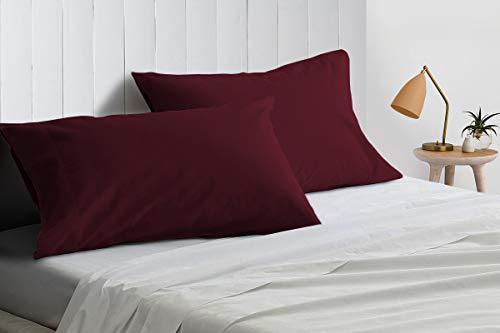 SGI Bedding Funda de almohada de 600 hilos, 100% algodón egipcio, 54 x 142 cm, color vino sólido (paquete de 2)