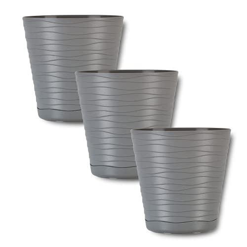 ORTEN Plant Pot Plastic Flower Pot with Saucer and Drainage Holes for All House Plants, Herbs, Cactus, Orchid, Succulents Grey Ø 13cm (5.11 in), Set of 3