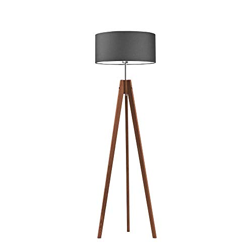 HAITI - Lámpara de pie de madera con pantalla de grafito y marco de caoba