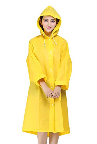 Mujer Chubasquero Chaqueta con Capucha Manga Larga Un Solo Pecho Lluvia Outdoor Trekking Camping Senderismo Medium Largos Poncho Abrigo Impermeable Rain Coat Adulto Unisex