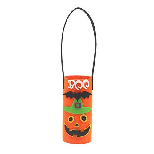 CAIRLEE - Bolsa de botellas de vino de calabaza de dibujos animados para decoraciones navideñas de fiesta Holloween (naranja)