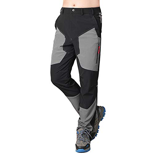 Sidiou Group Primavera Sottile Patchwork Quick Dry Pantaloni da Trekking Uomo Estivo Pantaloni Impermeabili Traspirante Pantaloni da Arrampicata Escursione Pantaloni Softshell (Nero/Grigio, M(31'))