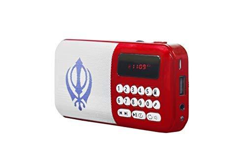 Nitnem & Banis Mini Gurbani Portable Radio Player (RED)