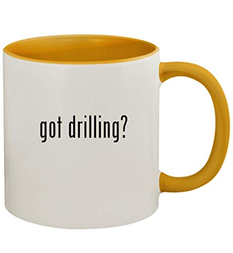 got drilling? - 11oz Ceramic Colored Handle and Inside Coffee Mug Cup, Golden Yellow