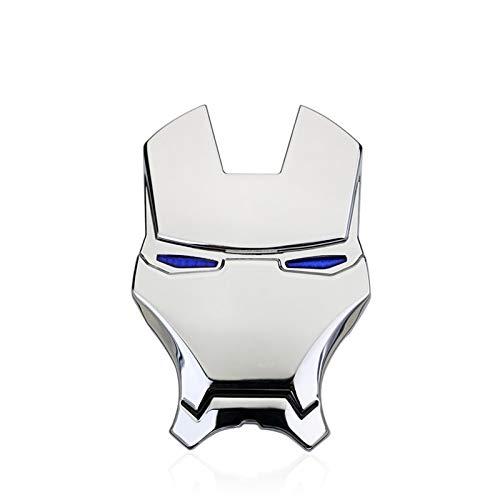 Appiu Car Stickers 3D dreidimensionale Persönlichkeit Metall Auto-Logo Iron Man Avengers Auto Aufkleber Auto Aufkleber Schwanz Dekoration verändert (Color : Silver)