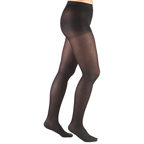 Truform Women's Compression Pantyhose, 15-20 mmHg, Opaque Hosiery Support Shaping Tights, Black, Small
